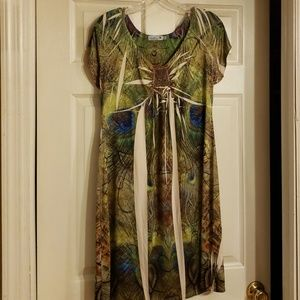 Unity peacock patterned dress